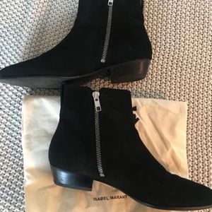 Isabel Marant PATSHA Black Suede Boots Size 38 / 7